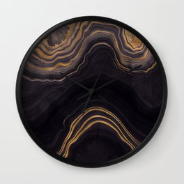 Dark Night Marble With Gold Glitter Waves Wall Clock