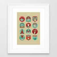 motivational Framed Art Prints featuring Motivational badges by Nina Magradze