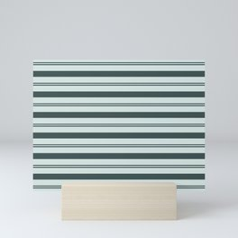 Night Watch Color of the Year Thick and Thin Horizontal Stripes on Cave Pearl Light Mint Green Mini Art Print