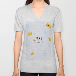TAKE A SHOT! 2 (with text) Unisex V-Neck