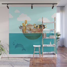 Noahs Ark with Animals– Illustration for the childrens room of girls and boys Wall Mural