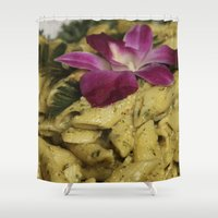 pasta Shower Curtains featuring Penne Pasta Dish by BravuraMedia