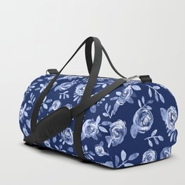 Hand painted navy blue white watercolor floral roses pattern Duffle Bag