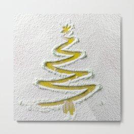 Simple Christmas Tree Hand Drawn in Snow on Gold Festive Minimal Art Metal Print
