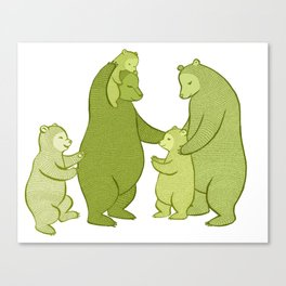 Bear family of Five Canvas Print