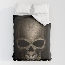 Decorated Dark Day of the Dead Sugar Skull Comforters