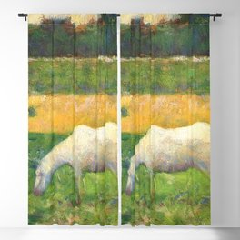 "Georges Seurat ""Paysage avec cheval (Landscape with a white horse)"" Blackout Curtain"
