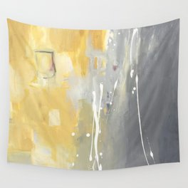 50 Shades of Grey and Yellow Wall Tapestry