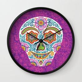 Flower Power Skully Wall Clock