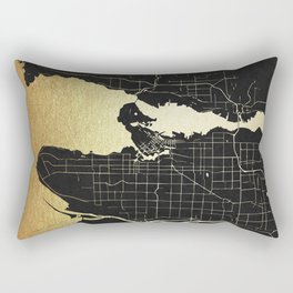 Vancouver Canada Black and Gold Map Rectangular Pillow