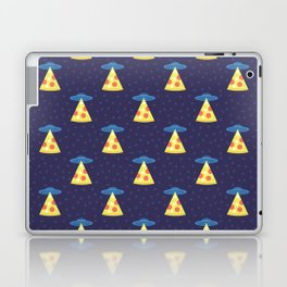 Abstract futuristic print with flying saucers, rays of light with pizza. Laptop & iPad Skin