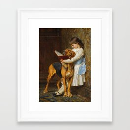 Briton Riviere  -  Reading Lesson  Compulsory Education Framed Art Print