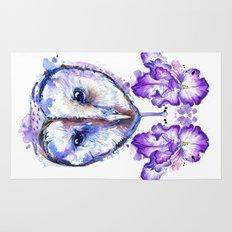 Owl and Irises Rug