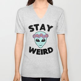 Stay Weird Alien Head Unisex V-Neck