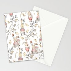 Cute Easter Bunnies with Watercolor Flowers,Sprigs and Leaves Stationery Cards
