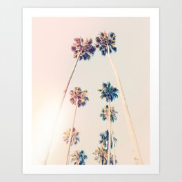 Vintage Pastel Palm trees Art Print