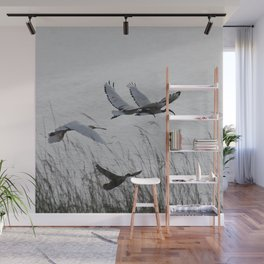 Sacred Ibis in flight Wall Mural