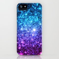 Glitter Galaxy Stars : Turquoise Blue Purple Hot Pink Ombre iPhone SE Slim Case