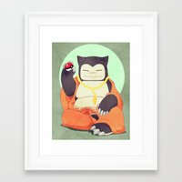 snorlax Framed Art Prints featuring Relax with Snorlax by Lianne Booton