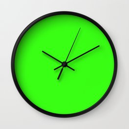 Neon Green - solid color Wall Clock