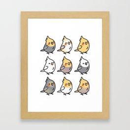 Chubby Cockatiels Framed Art Print