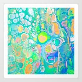 Blue Green Cells Art Print