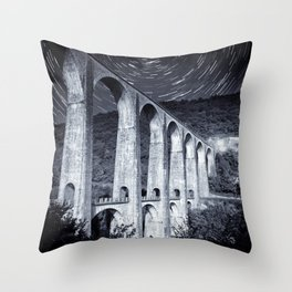 French old stone viaduct architecture under moonlight with star trails monochrome Throw Pillow
