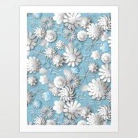 Paper Cut Flowers (Cornflower Blue) Art Print