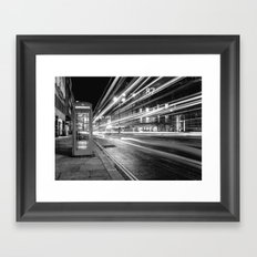 Black and White London Street at Night Framed Art Print