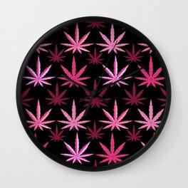Marijuana Magenta Pink Weed Wall Clock