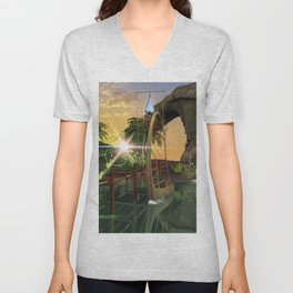 Beautiful latern boat at the jetty at night Unisex V-Neck