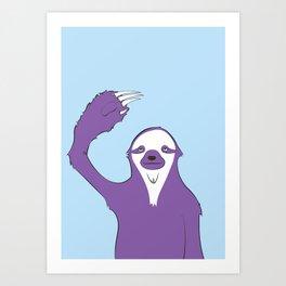 Sloth says HI Art Print