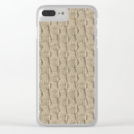 Sepia Knit Textured Pattern Clear iPhone Case