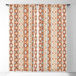 Aztec Stylized Pattern Blue Cream Terracottas Blackout Curtain