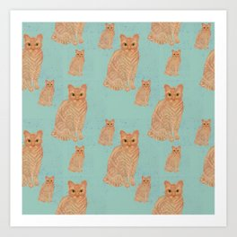 Devon Rex Cat Teal Art Print