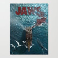 jaws Canvas Prints featuring Jaws by Andy Fairhurst Art