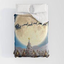Christmas village night - Amazing cute christmas santa's sleigh goes through fantastic winter small town. Comforters