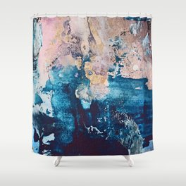 Breathe Again: a vibrant mixed-media piece in blues pinks and gold by Alyssa Hamilton Art Shower Curtain