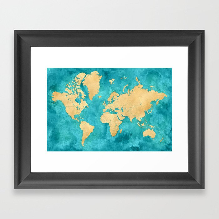"""Teal watercolor and gold world map with countries and states """"Lexy"""" Gerahmter Kunstdruck"""