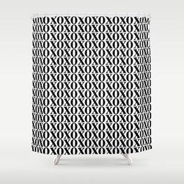 Black XOXO Shower Curtain