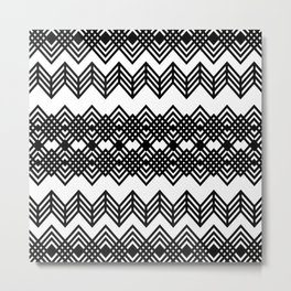 Geometric Black & White Zigzag Design Metal Print