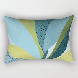 In The Shadows / Abstract Maximal Flora in French Blue and Olive Rectangular Pillow