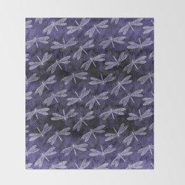 Purple Dragonfly Twighlight Dance Throw Blanket