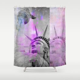 Statue of  Liberty pink mixed media art Shower Curtain