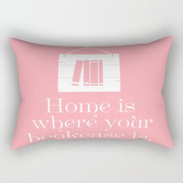 Home Is Where Your Bookcase Is (Pastel Pink) Rectangular Pillow