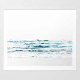Water, Sea, Ocean, Water, Blue, Nature, Modern art, Art, Minimal, Wall art Art Print