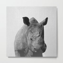 Rhino - Black & White Metal Print