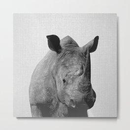 Rhino - Black & White Metal Print