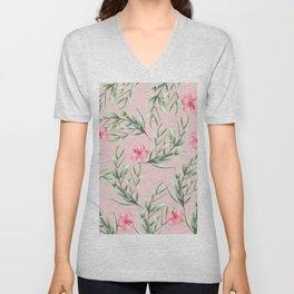 Delicate Hibiscus Pink Unisex V-Neck