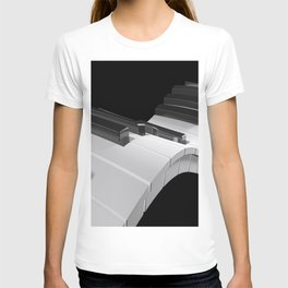 Keyboard of a piano waving on black background - 3D rendering T-shirt